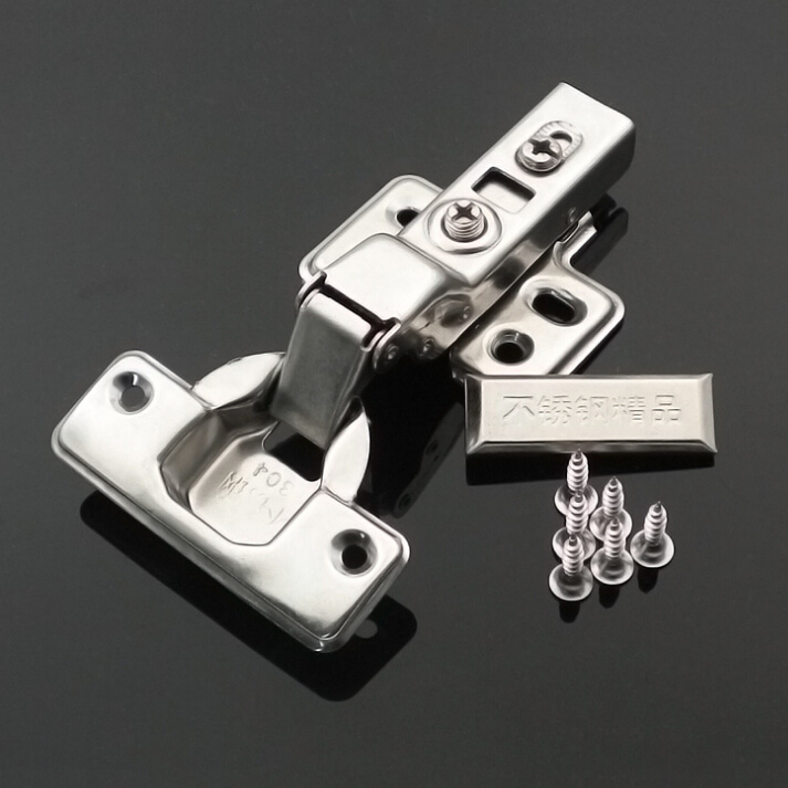 Stainless steel Concealed buffering hydraulic Kitchen Cupboard Cabinet hinge door hinge Full Overlay Clip On Oil Damper hinges(China (Mainland))