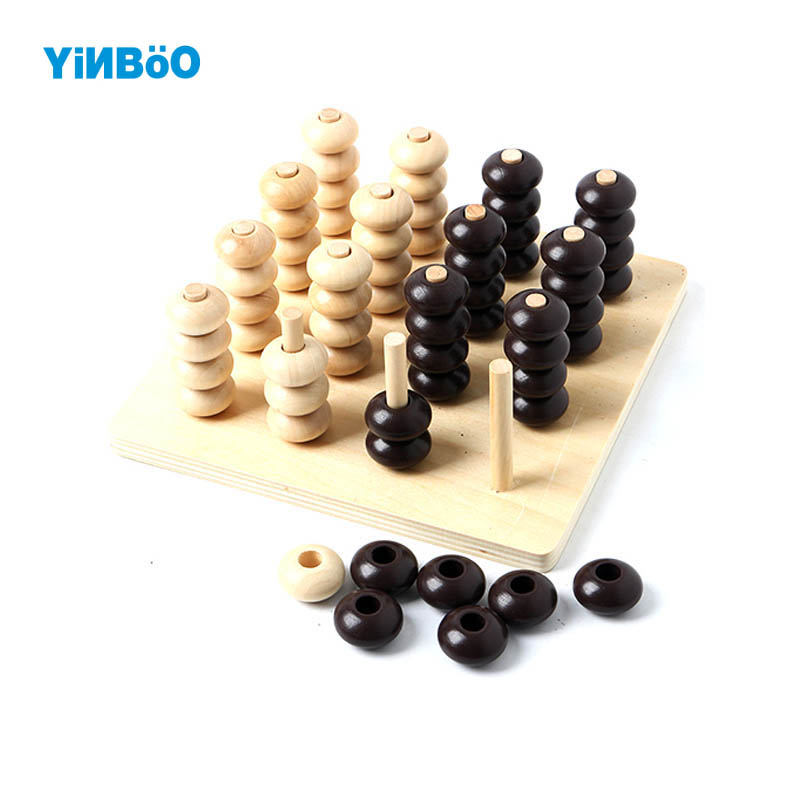 Child Wooden Toys 3D Puzzle Chess Gadget Four In a Line Educational Toys Parent Child Game Kids Gifts(China (Mainland))