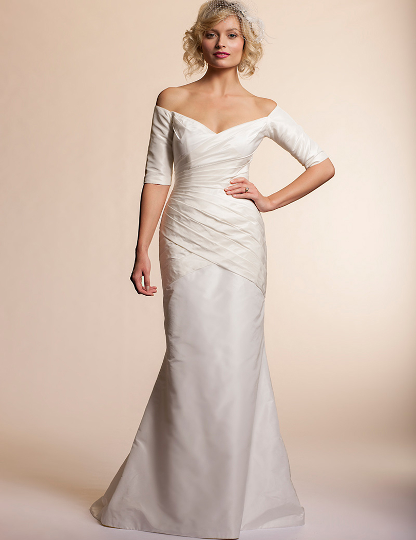 Half sleeve mermaid plus size long white ivory wedding for Plus size mermaid wedding dresses with sleeves