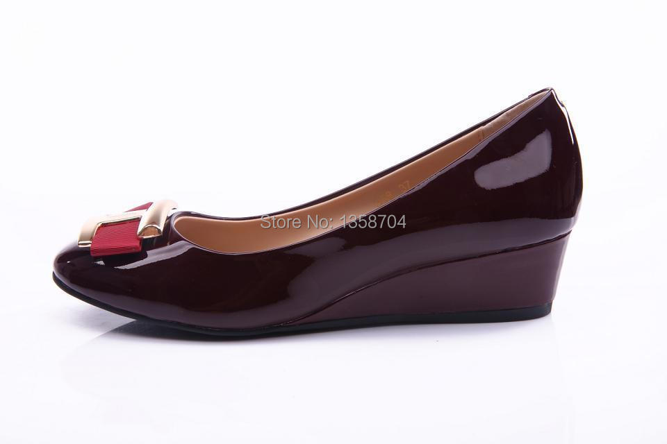 Гаджет  Free Shipping 2014 New Spring and summer Women Wedges Shoes Round Toe Patent Leather Work Shoes Women Pumps Size 35-39 None Обувь