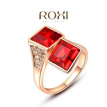 2014 New 18k Rosze Gold CZ Diamond Red Crystal Jewelry Ruby Wedding Rings For Women Roxi Brand Vintage Ring