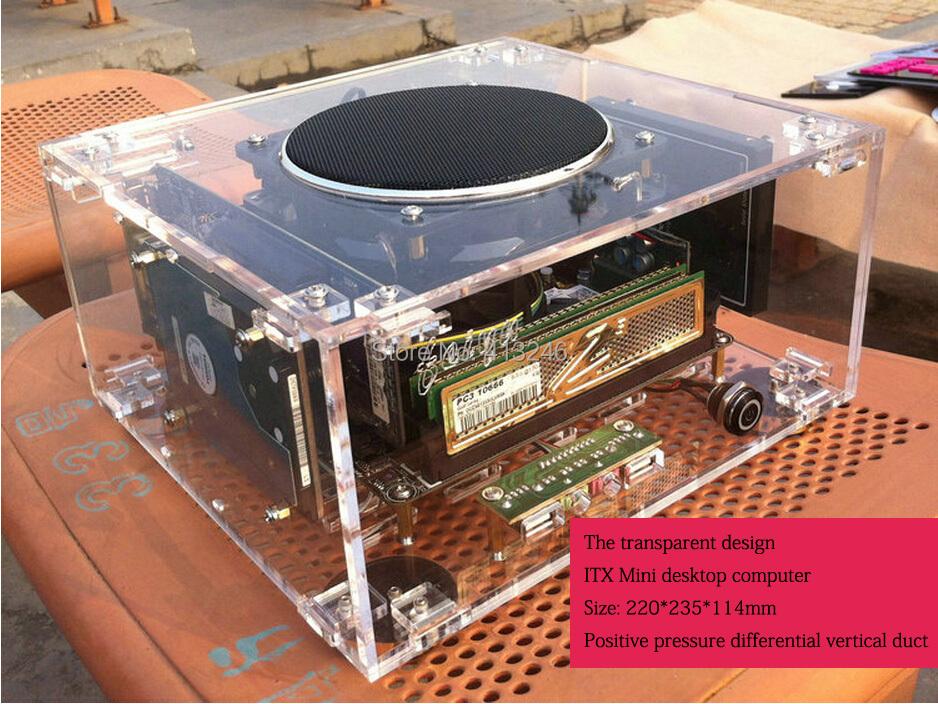 Computer HTPC chassis mini Htpc custom transparent organic glass E350 1037u I5 I3 windows pc case(China (Mainland))
