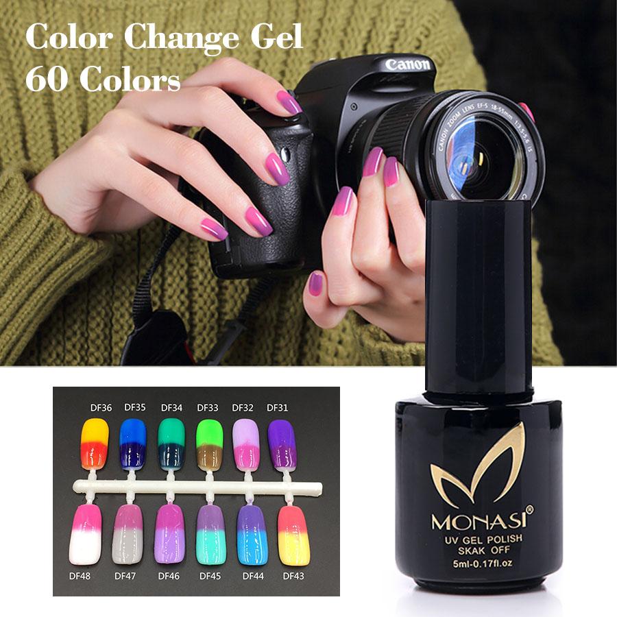 MONASI 2016 Nail Gel Polish Make Up Changing Color With Temperature Nail Gel Polish Chameleon Nail Gel UV 60 colors(DF25~DF48)(China (Mainland))