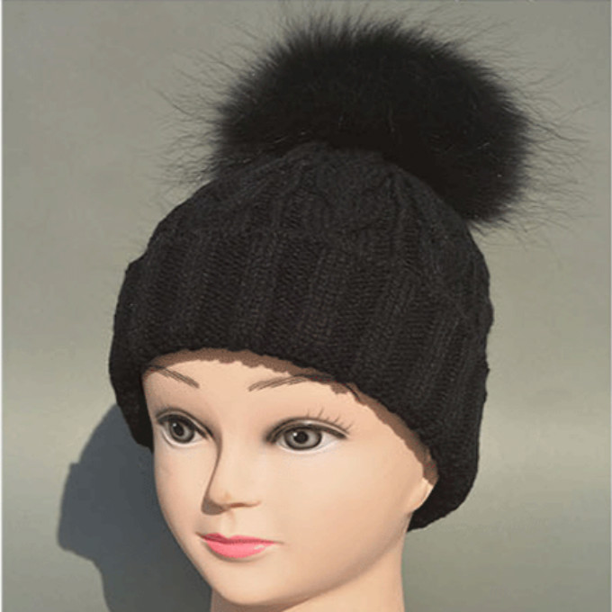 Black White Gray Children Cable Crochet Wool Knitted Beanie Skull Cap 100% Real Raccoon Fur Pom pom Winter Hats For Kid Boy Girl(China (Mainland))
