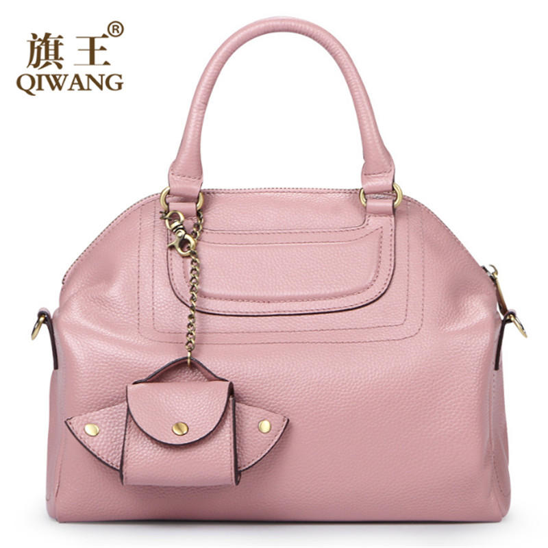 Qiwang Famous Women Purses and Handbags Brands Litchi Leather Tote Bag Pink Luxury Handbags with mini Wing Bag Fashion New 2016(China (Mainland))