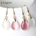 High Quality Gold Plated Waterdrop Shape Drop Earrings Clear Moonstone Opal Rose Quartz Earrings Women Fine