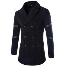 Fashion Design Mens Pea Coat 2015 New Winter Brand Men Slim Fit Double Breasted Wool Blends Trench Jacket Casual Men Overcoat(China (Mainland))