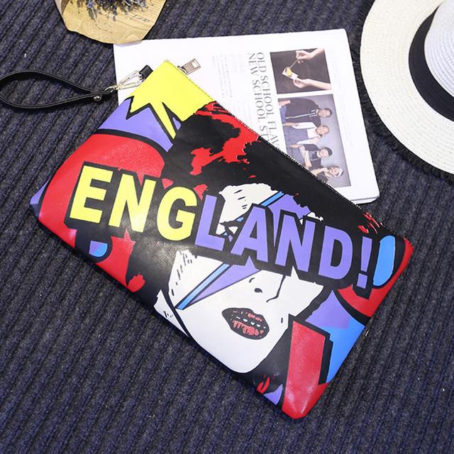 Новое поступление мультипликационный персонаж алфавит шить персонализированные мода свободного покроя черный конверт сумки вечерняя