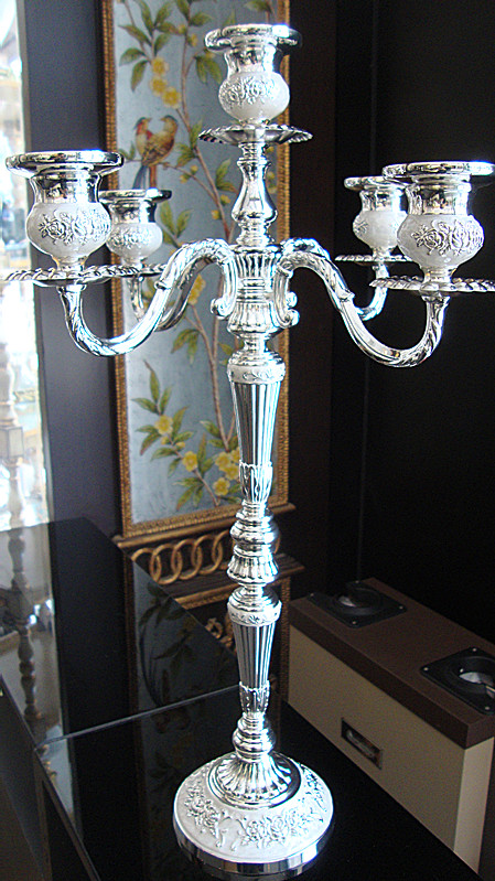 52cm height floor candelabra 5-branch silver plated metal wedding centerpiece candle holder candelabrum party decoration