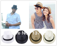 Fashion Womens Mens Unisex Fedora Trilby Gangster Cap Summer Beach Sun Straw Panama Hat Couples Lovers
