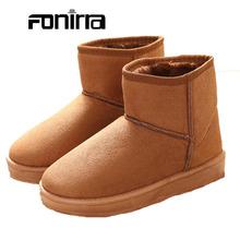 Zapatos de las señoras de Invierno Calentamiento Zapatos de Punta Redonda Botas de Nieve de Moda Sólido Slip-on Flat Con Mujeres Al Aire Libre Zapatos Cómodos 256(China (Mainland))