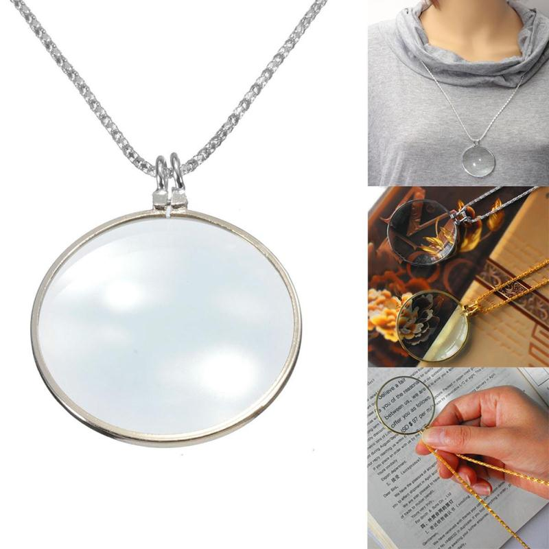 Silver Gold Decorative Monocle Necklace With 6x Magnifier Glass Pendant For Women Men Accessories Reading Tool(China (Mainland))