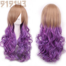 Harajuku Ombre Wig Pelucas Pelo Curly Natural Synthetic Wigs Heat Resistant Halloween Perruque Anime Cosplay Wigs Manic Panic(China (Mainland))