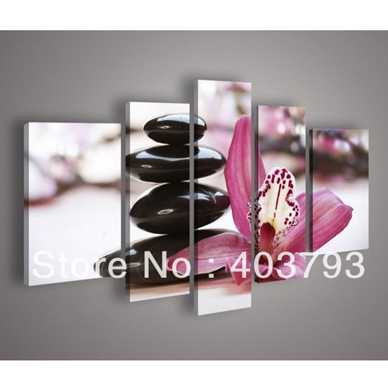 5 Panel Wall Art Botanical Pink Flower Stone Feng Shui Orchid Oil Painting On Canvas