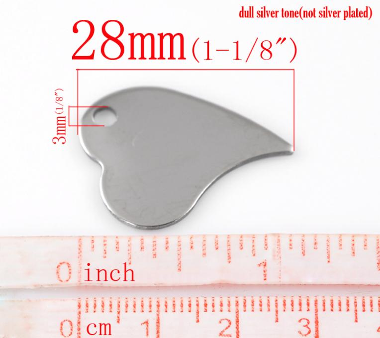 """Free Shipping 10PCs Silver Tone Love Heart Stainless Steel Tags Pendants 28x21mm(1 1/8""""x 7/8"""") For Jewelry Making(China (Mainland))"""