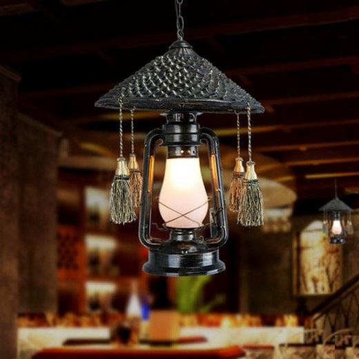 Village rotin Droplight LED Vintage pendentif luminaires pour salle à manger lampe suspendue éclairage intérieur kérosène lanterne(China (Mainland))