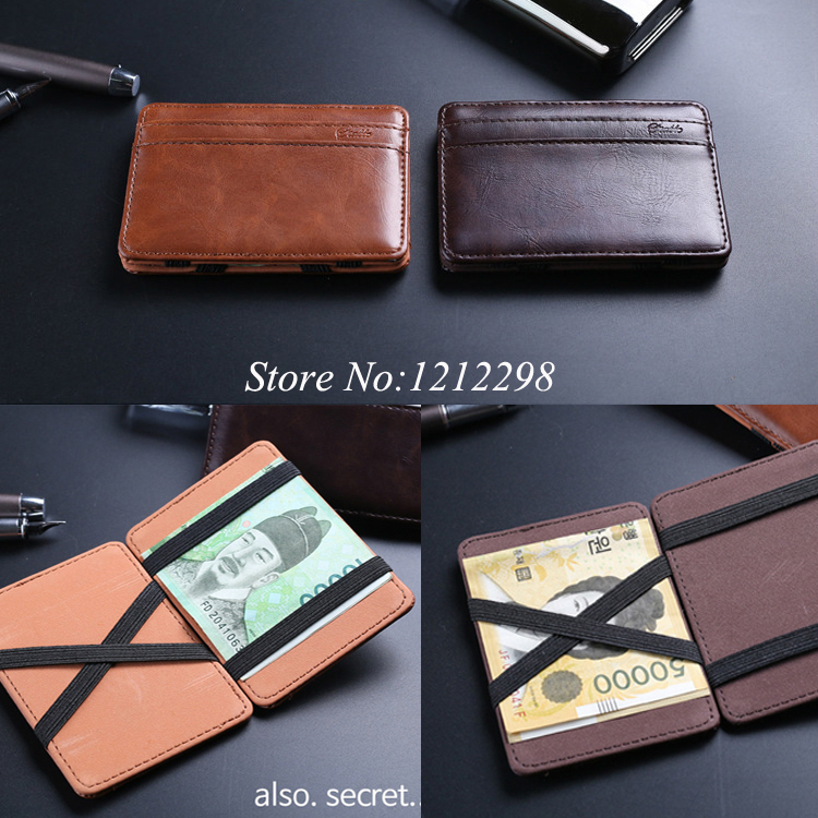 2015 New arrival Genuine leather magic wallets Fashion men money clips card wallets 2 colors(China (Mainland))