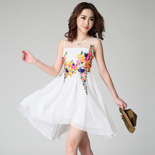 2015 Fashion Summer Illusion O-neck Flower Embroidery Applique Overlay Gauze Sleeveless Slim Asymmetrical Dress