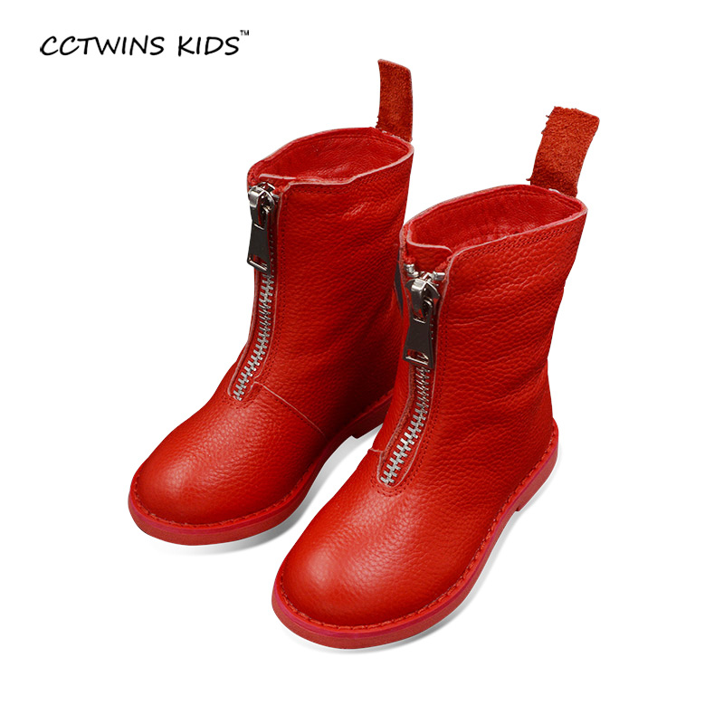 CCTWINS KIDS autumn winter boys mid calf boots children genuine leather shoes for baby girls fashion boots kids brand red boots