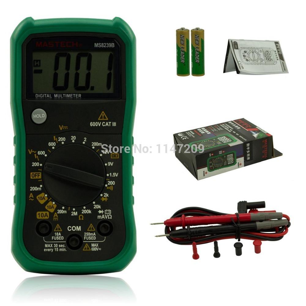 MASTECH MS8239B Pocket Digital Multimeter DMM Voltage Tester w/ Battery Test Black + Green<br><br>Aliexpress
