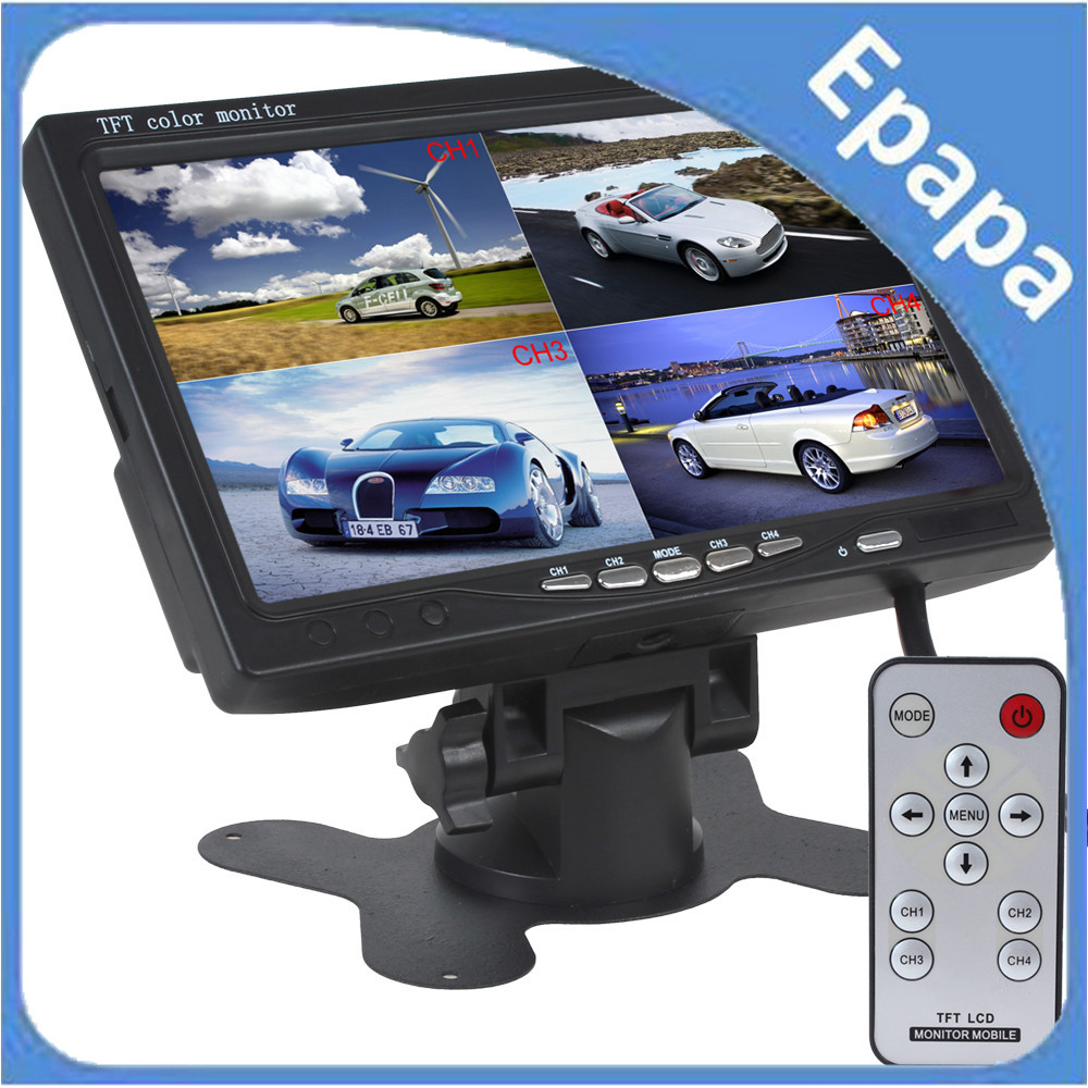 "7"" 4 Split Quad Video Input Display + Automatic Input Signal Identify TFT LCD Car Headrest Monitor For Rearview Camera DVD GPS(China (Mainland))"
