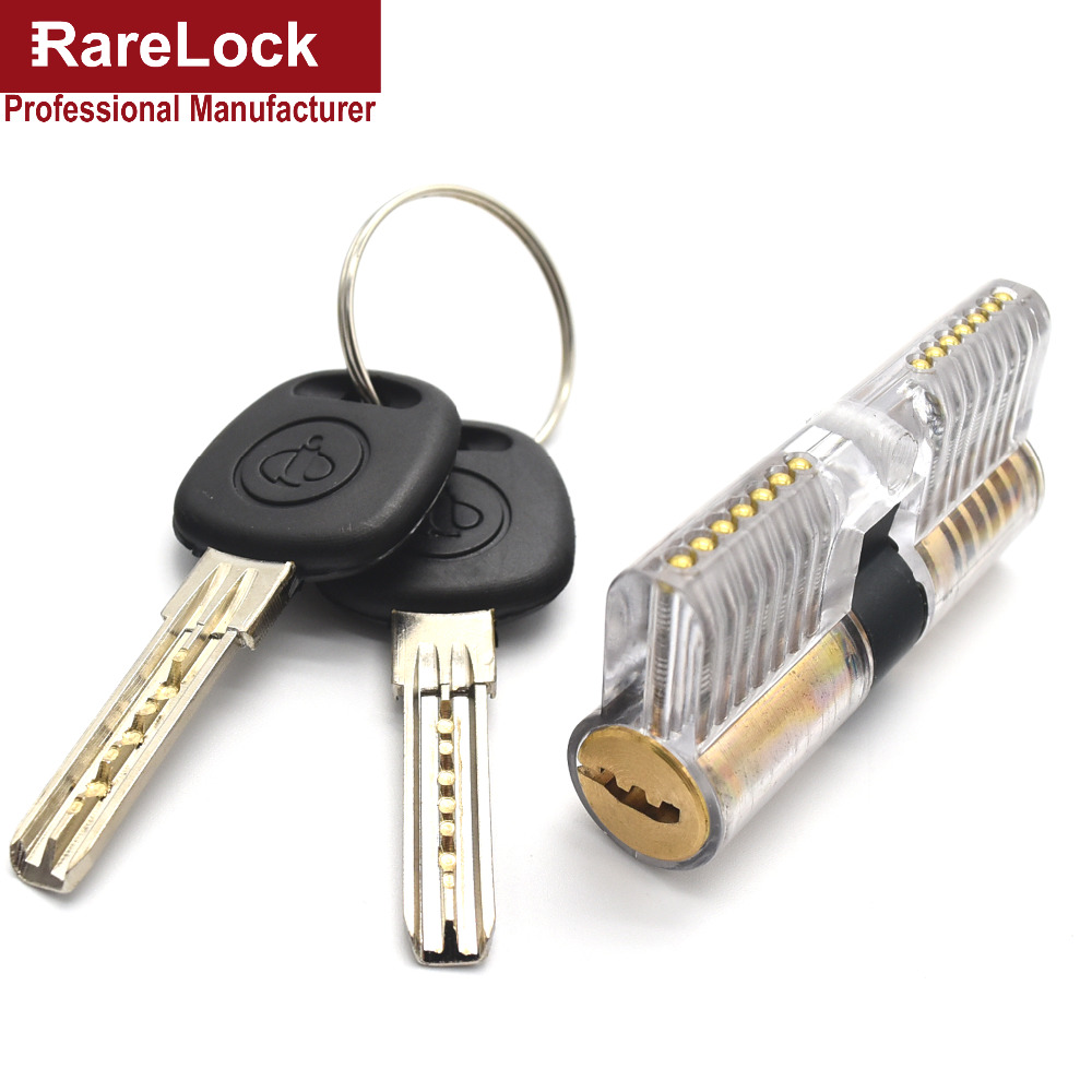 Rarelock Free Shipping Training Door Lock Skill 2Keys Pick Set for Beginner Transparent Lock View of Both End Practice 7Pin Pick(China (Mainland))
