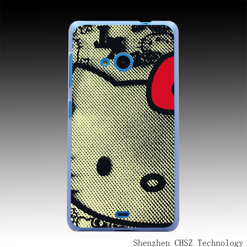 644O Knitted Fabric Hello Kitty Hard Clear Case Transparent Cover for Microsoft Nokia Lumia 535 630 640 640XL 730(China (Mainland))