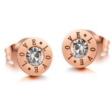 Hot 316l titanium steel rose gold plated inlay Austrian crystal brinco masculino classic bulgary mens stud earrings for women(China (Mainland))