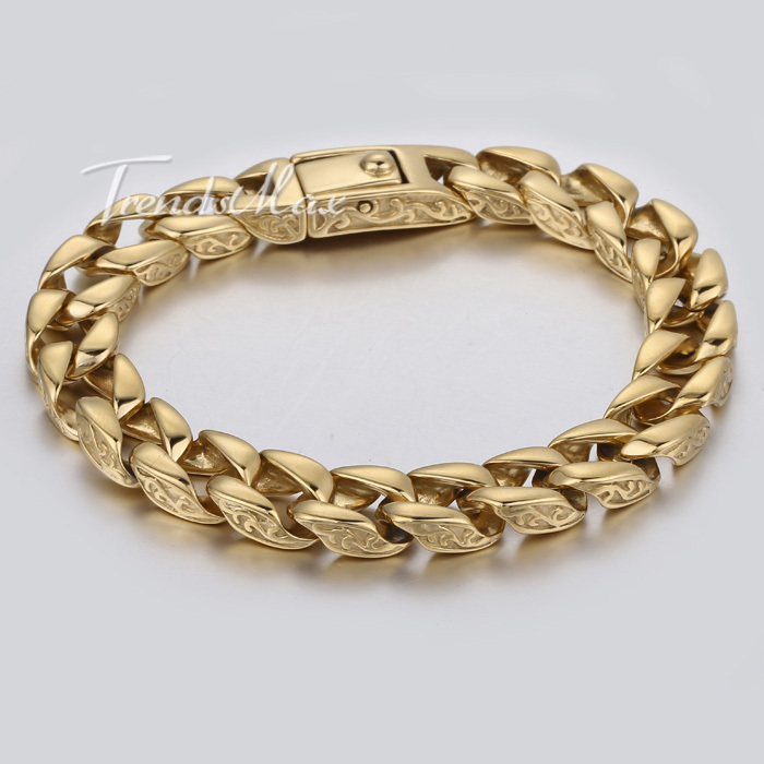11mm Smooth Curb Link Carved Swirls Gold Tone Mens Chain 316L Stainless Steel Bracelet Customized Wholesale