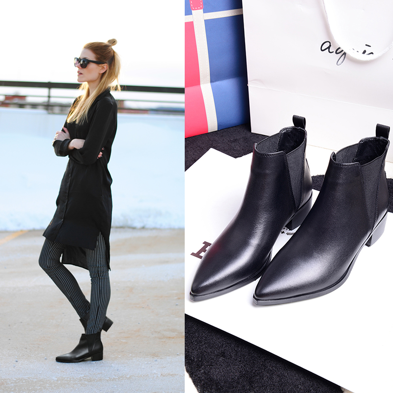 2015 fashion with the womens shoes pointed toe boots elastic ankle boots thick heel martin boots genuine leather boots<br><br>Aliexpress