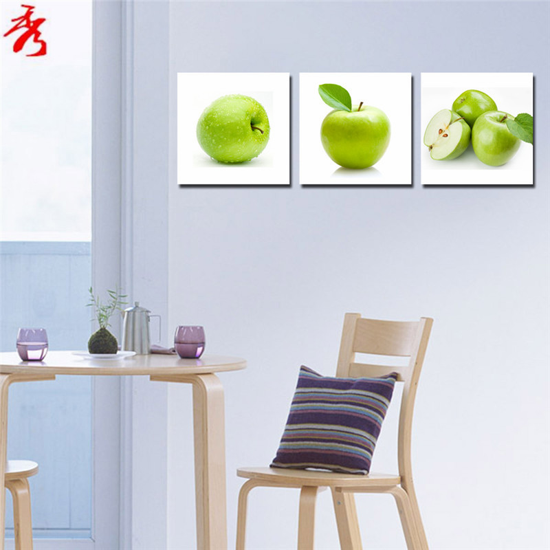 3pcs set fresh green apples cute fruit canvas paintings for Cute dining room decor