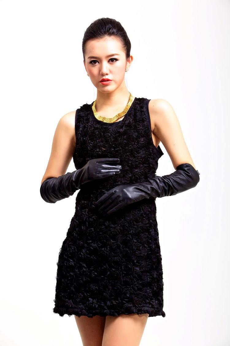 Длинные 50 см / 40 см черный за локоть мягкий Lmitation кожаные рукавицы для женщины мода зима теплая мода показать женские перчатки