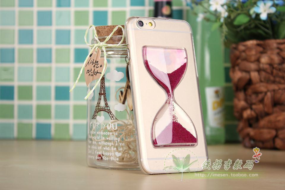 New arrival Crystal Clear Sand Clock Sand Glass Transparent Flowing Hourglass Pattern Back Cover Phone Case for iPhone6 4.7inch(China (Mainland))