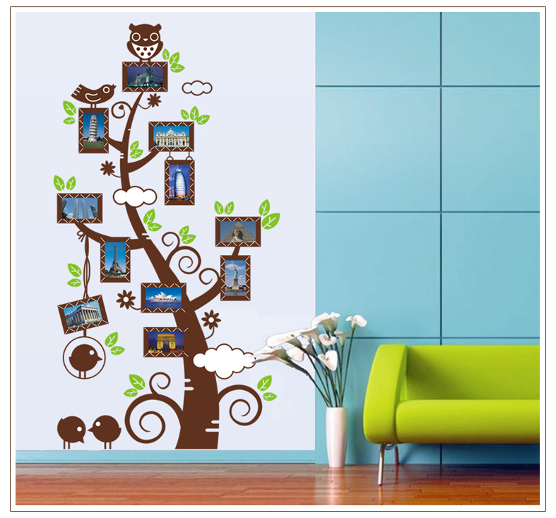 9005* DIY Large 60*110cm Owl Photo Frame Tree Vinyl Wall Decals Living Room Decorative Stickers Shelf Decoration Home Decor(China (Mainland))