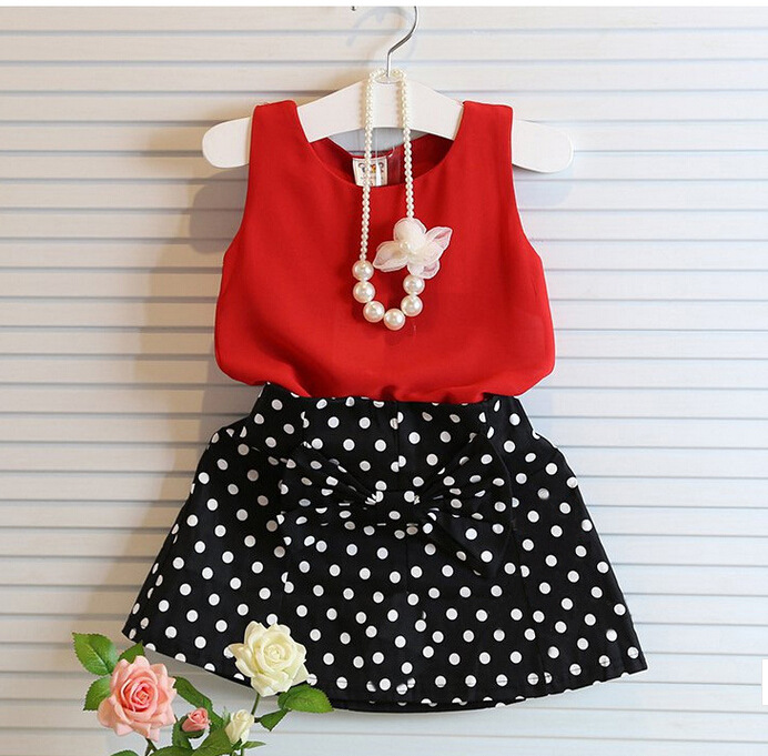 New Summer Wear Girl's Temperament Dot Chiffon Dress Blouse + Wave Points Short Skirt No Necklace Kids Clothing Red
