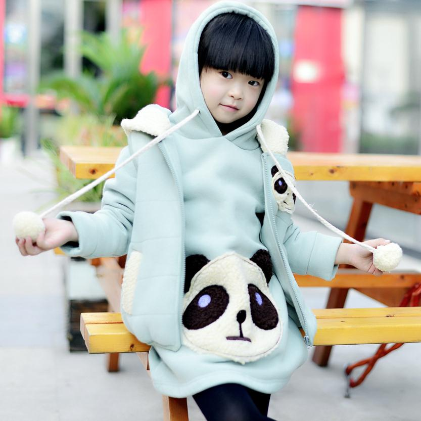 Girls clothes 2015 new year autumn / winter warm children hoodies sets children's clothing sportswear baby girls panda suit(China (Mainland))