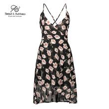 Bread&Buttons new summer dress plus size designer dresses runway 2017 high quality sleeveless waist Short bohemian beach dress(China)