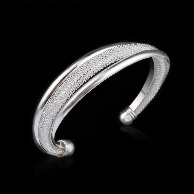 Hot sale Free Shipping wholesale fashion women female jewelry 925 sterling silver bangles cuff bracelets High Quality(China (Mainland))