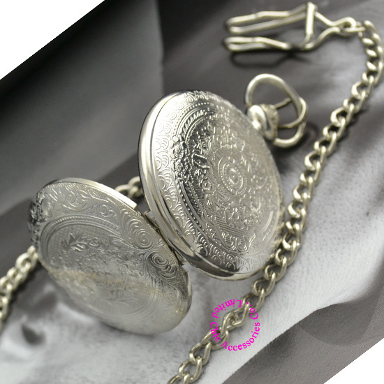 classic vintage retro style silver white face dial man men pocket watch with chain wholesale buyer