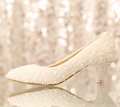 White flower lace wedding shoes pearl shoes bridal shoes princess single shoes women pumps large size