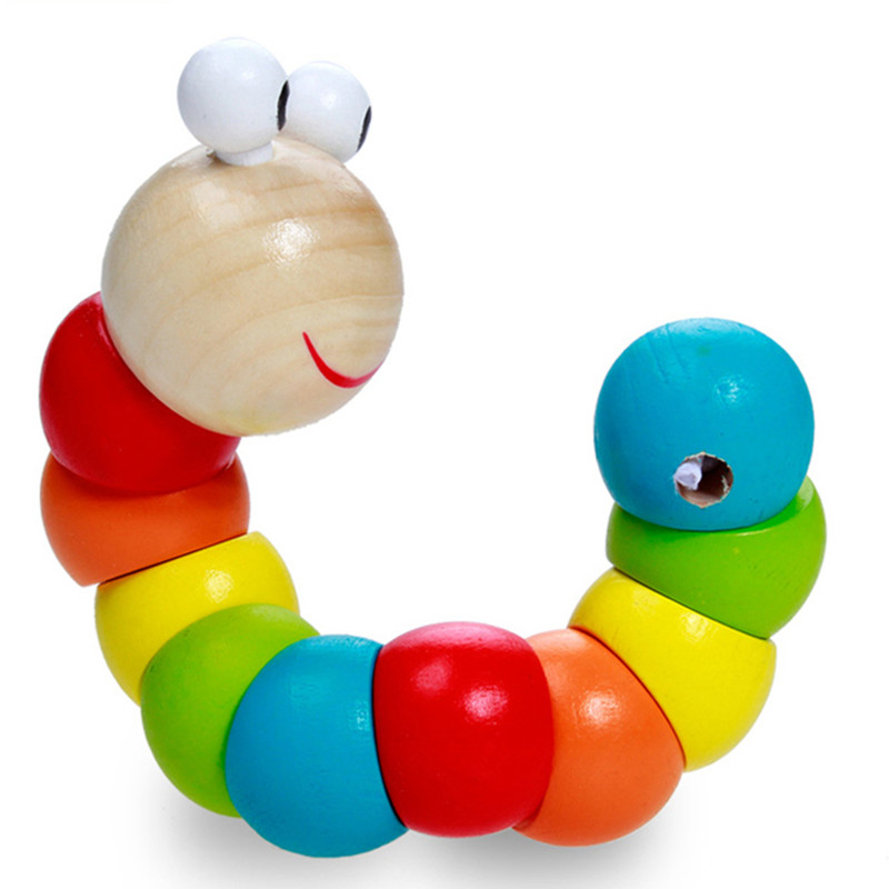 2016 New Style Color wooden caterpillar Toys Train baby fingers flexible ability educational toy Random twist wooden caterpillar(China (Mainland))
