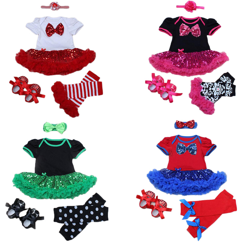 0-2Yrs Baby Girl Clothing Sets Sequined Romper Tutu Dress+Stockings+Shining Shoes+Headband Bebe Birthday Party Costumes Vestidos<br><br>Aliexpress