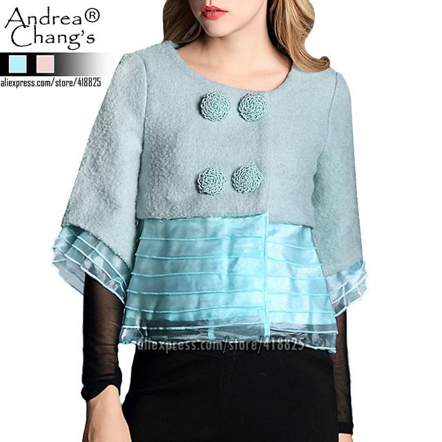2013 осень зима женская верхняя одежда пальто шерсть розовый синюю кнопку бисером ...