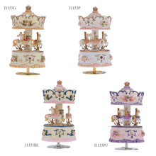 Luxury Windup 3-horse Carousel Music Box Creative Artware/Gift Melody Castle in the Sky Pink/Purple/Blue/Gold Shade for Option(China (Mainland))