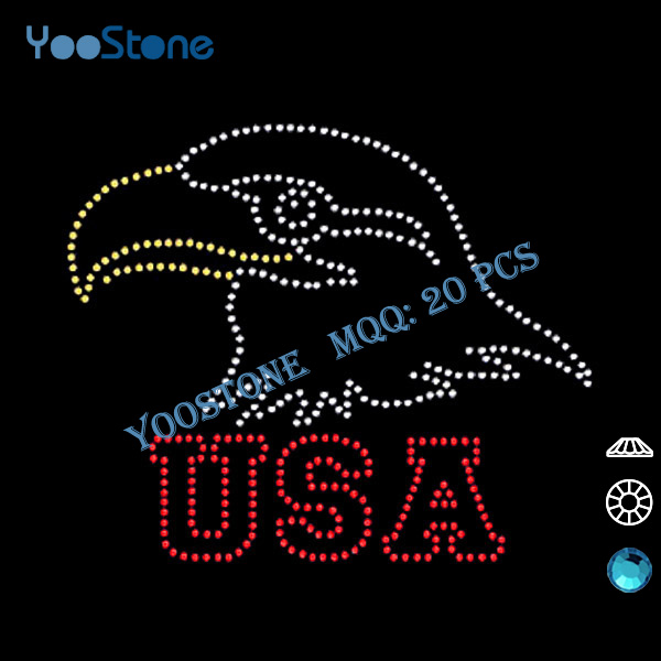 Factory Direct China Wholesale Free Shipping 20 Pcs/Lot USA Eagle Rhinestone Iron On Transfer For DIY t-Shirt(China (Mainland))