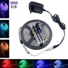 Buy RGB LED Strip light 5050 IP20 Waterproof 60LEDs/m 5m/roll led light led tape diode 44k controller DC 12V 3A adapter for $10.95 in AliExpress store