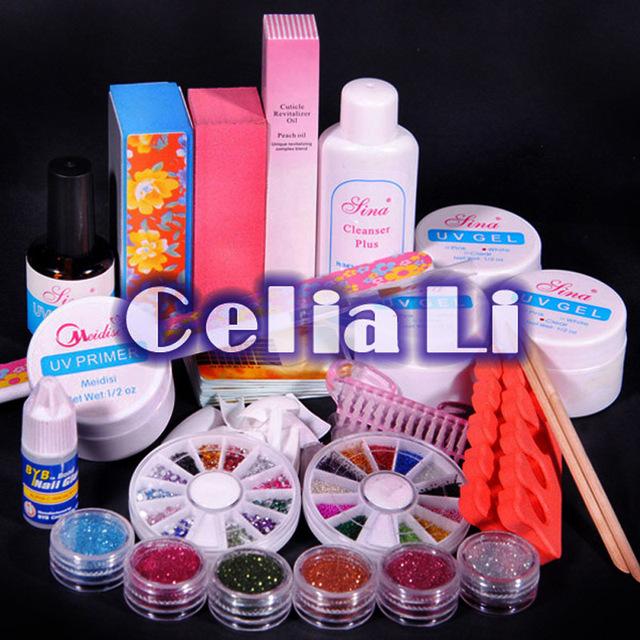 New UV GEL NAIL KIT 6 glitter Powders Nail Polishes Nail Art gel Kit Glues Files Primer Base Gel Top coat nail tools kit Set 268