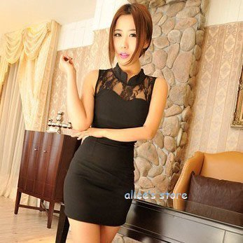2012 hot nightclubs wind lace stitching package hip Slim Dress