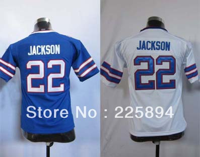 Wholesale & Retail Kids Jersey #22 Fred Jackson Youth Game Team White & Blue Football Jersey (Sewn Jersey)(China (Mainland))