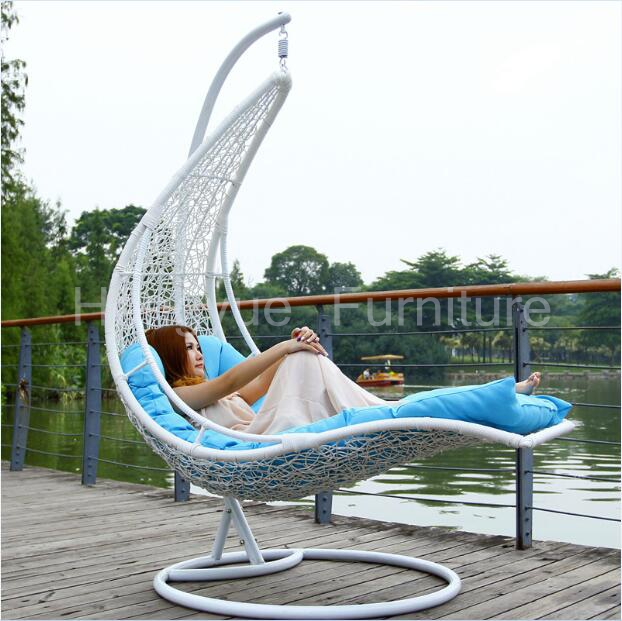 Hanging rattan chair bed furniture with cushions(China (Mainland))